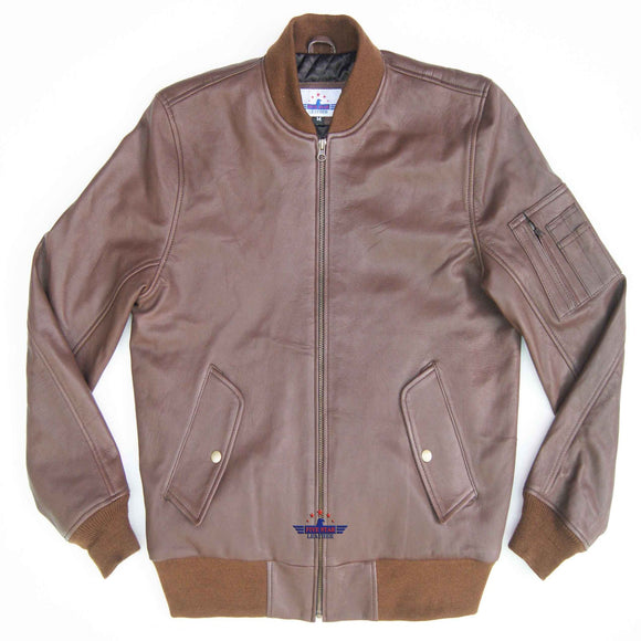 Copy of MA-1 Army Pilot Bomber Military Harrington Real Goat Leather Men Jacket Tan