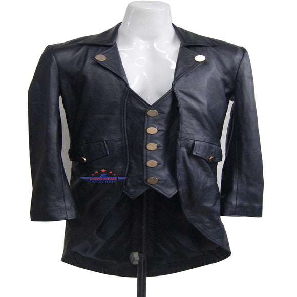 Men REAL SHEEP SKIN LEATHER Black TAILCOAT Steampunk Jacket Dress Coat GOTHIC