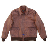 Men Distressed Type A2 Repro Military Flight Jacket Real Goatskin Leather Conic