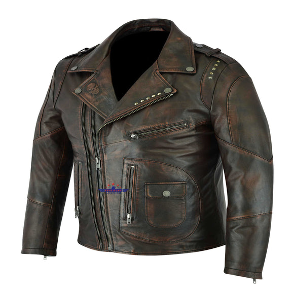 Men Real Goat Seal Brown Leather Air Force A-1 Jacket Pilot Flying
