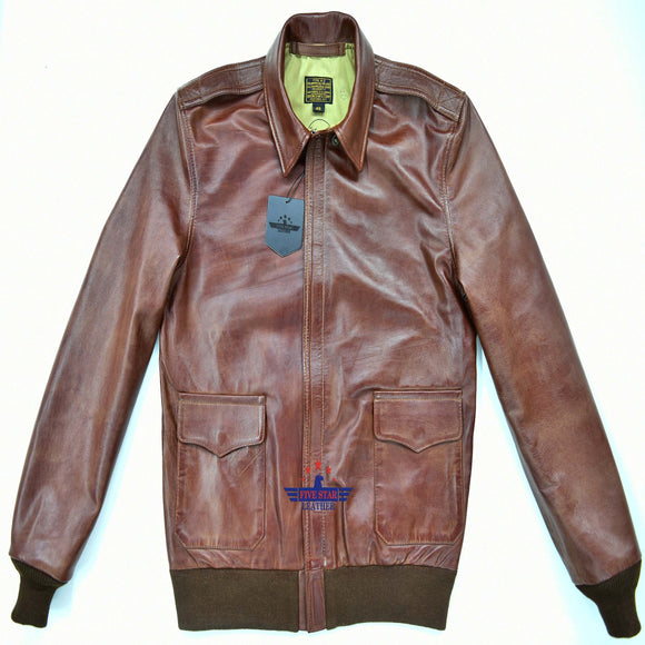 Men Type A2 Repro Military Bronco  WWII Air force Reddish Russet Brown Capeskin Leather Jacket