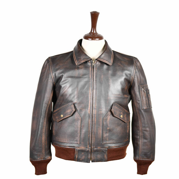 FLIGHT PILOT BOMBER MEN REAL LEATHER JACKET AIRFORCE CWU-45/P FLYING DISTRESSED BROWN