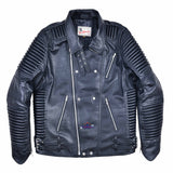 God Gift Men Black BUILD FOR SPEED Motor Biker Real Leather Jacket