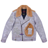 FiveStar Leather SpeedKing Cycle Champ Grizzly Style Back Jacket White Distressed