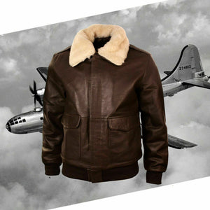 New Men Real Repro Bomber A-2 Genuine Leather Fur Collar Pilot Flying Jacket