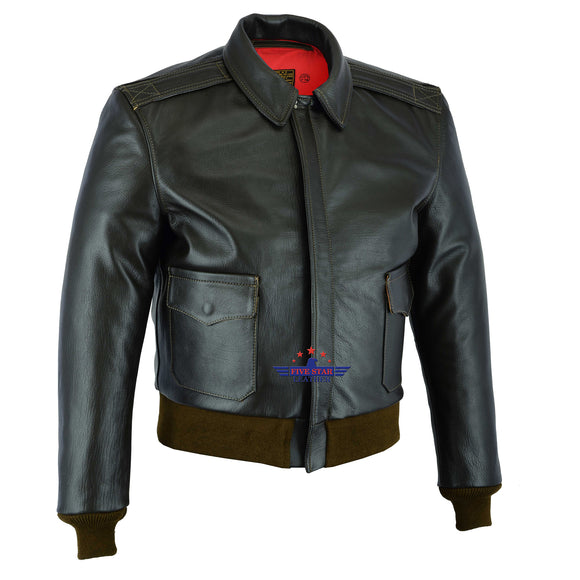 Men Type A2 Repro Military Flight Jacket Real Goatskin Leather Seal Brown