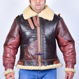 MEN TRUCKER REAL GOATSKIN CLASSIC WESTERN DENIM STYLE DISTRESSED BROWN LEATHER JACKET