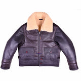 Men Aviator US Navy M-445A Sheepskin Leather Flight Jacket