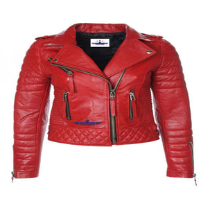 Women Ladies Red shoulder Diamond Quilted Biker LambSkin Fashion Leather Jacket