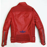 God Gift Men Red BUILD FOR SPEED Motor Biker Real Leather Jacket