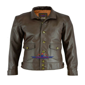 Military Naval Pilot Real Goatskin Leather Jacket Stand-up Collar Sea Boats