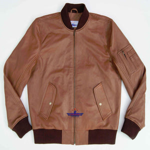 MA-1 Army Pilot Bomber Military Harrington Real Goat Leather Men Jacket Tan