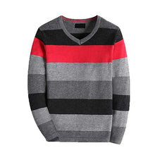 Load image into Gallery viewer, KID1234 Boy's Long-Sleeve Sweater Pullover V-Neck 100% Cotton Multicolor Stripe