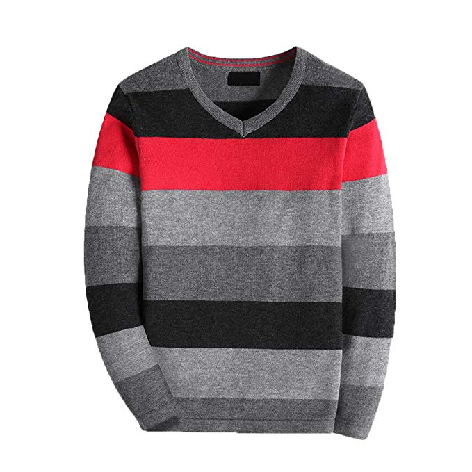 KID1234 Boy's Long-Sleeve Sweater Pullover V-Neck 100% Cotton Multicolor Stripe