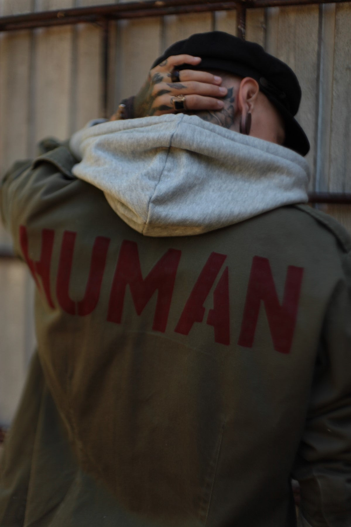 Human Bird + Wolf Dutch Army Jacket Customised Slogan