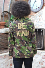 Be Kind Bird + Wolf Green Camo Jacket Customised Army Camouflage
