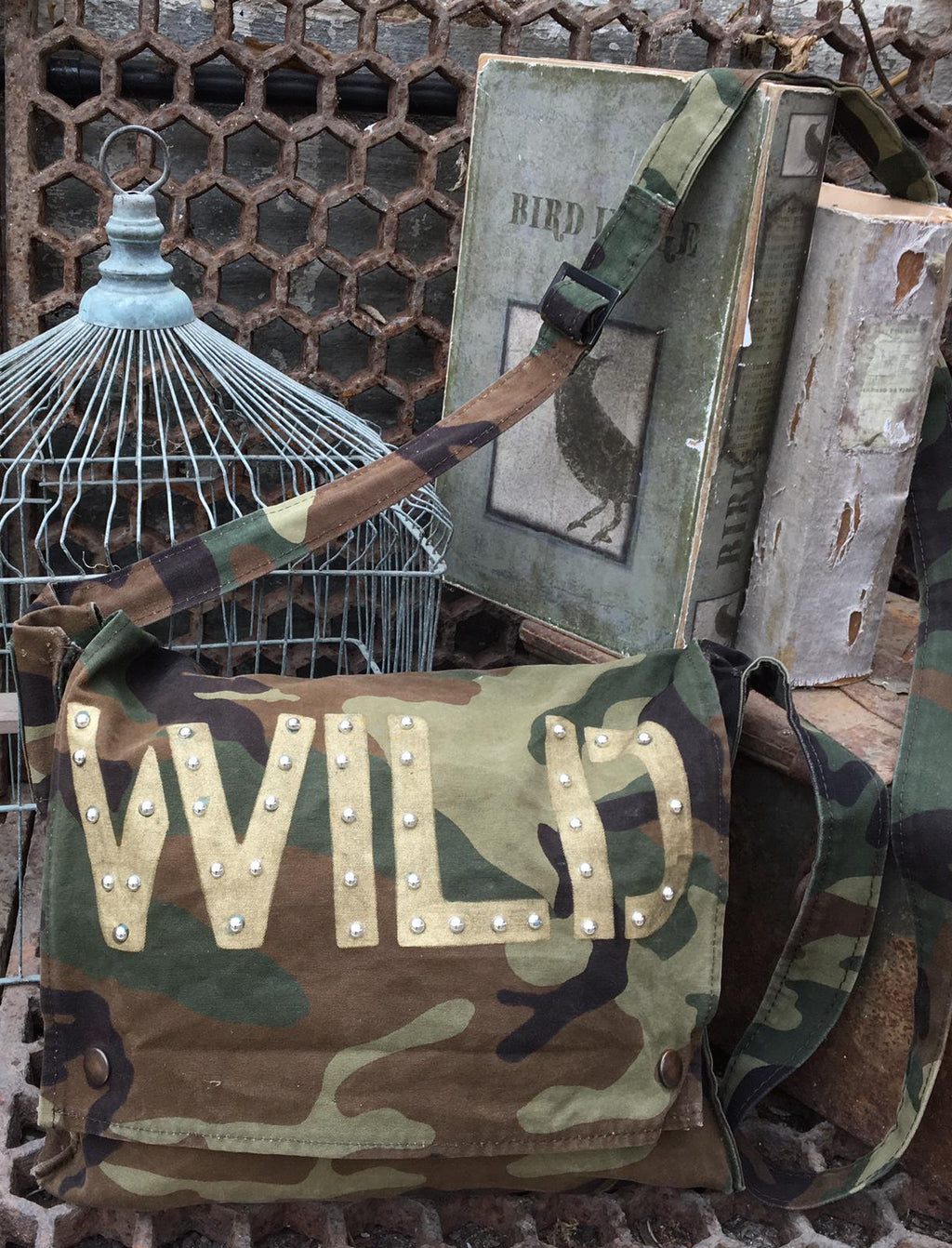 Wild Bird + Wolf Green Camo Messenger Bag Customised Camouflage