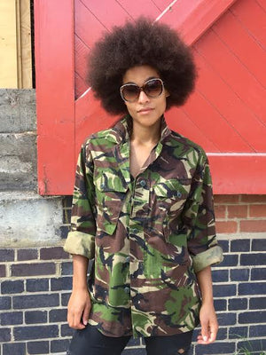 Bespoke Festival Bird + Wolf Green Camo Jacket Customised Camouflage