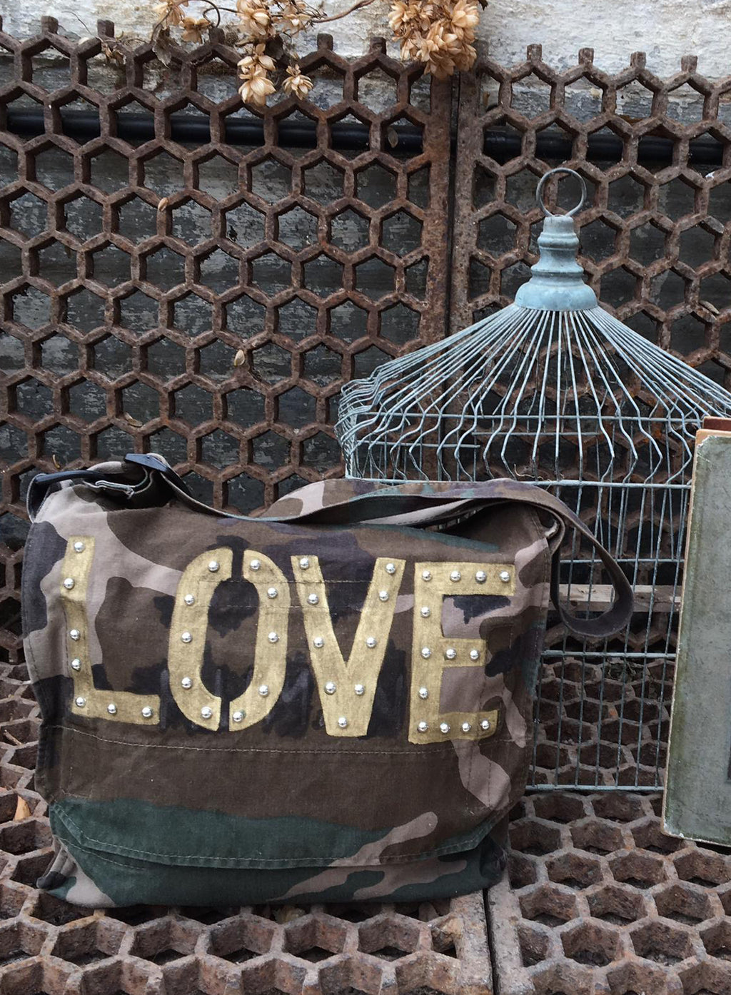 Love Bird + Wolf Green Camo Bag Customised Camouflage