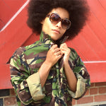 Rock & Roll Bird + Wolf Green Camo Jacket Customised Camouflage