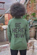 Be Here Now Bird + Wolf Swedish Army Shirt Customised