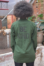 Be Kind Bird + Wolf Swedish Army Shirt Customised