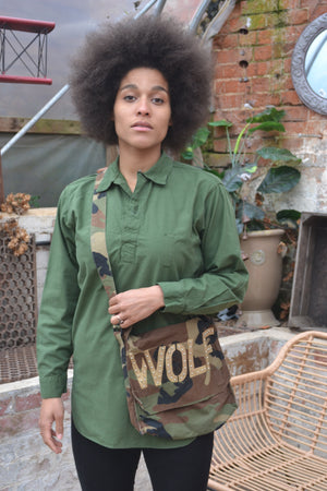 Bespoke Camouflage Army Messenger Bag Bird + Wolf