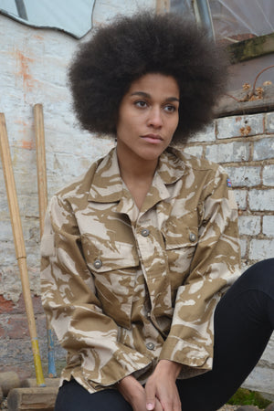 Let Love Rule Bird + Wolf Desert Camo Jacket - Customised Camouflage Army