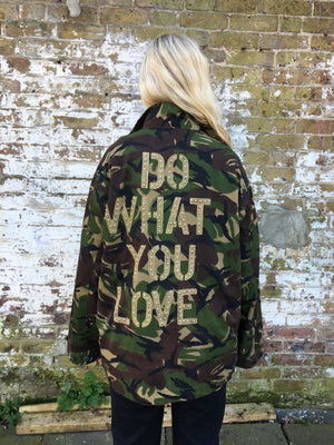 Do what you love Bird + Wolf Green Camo Jacket Customised Army Camouflage