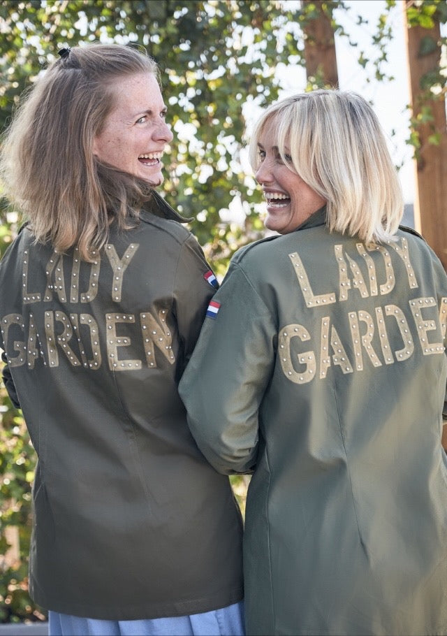Lady Garden Foundation Bird + Wolf Dutch Army Jacket Customised Slogan