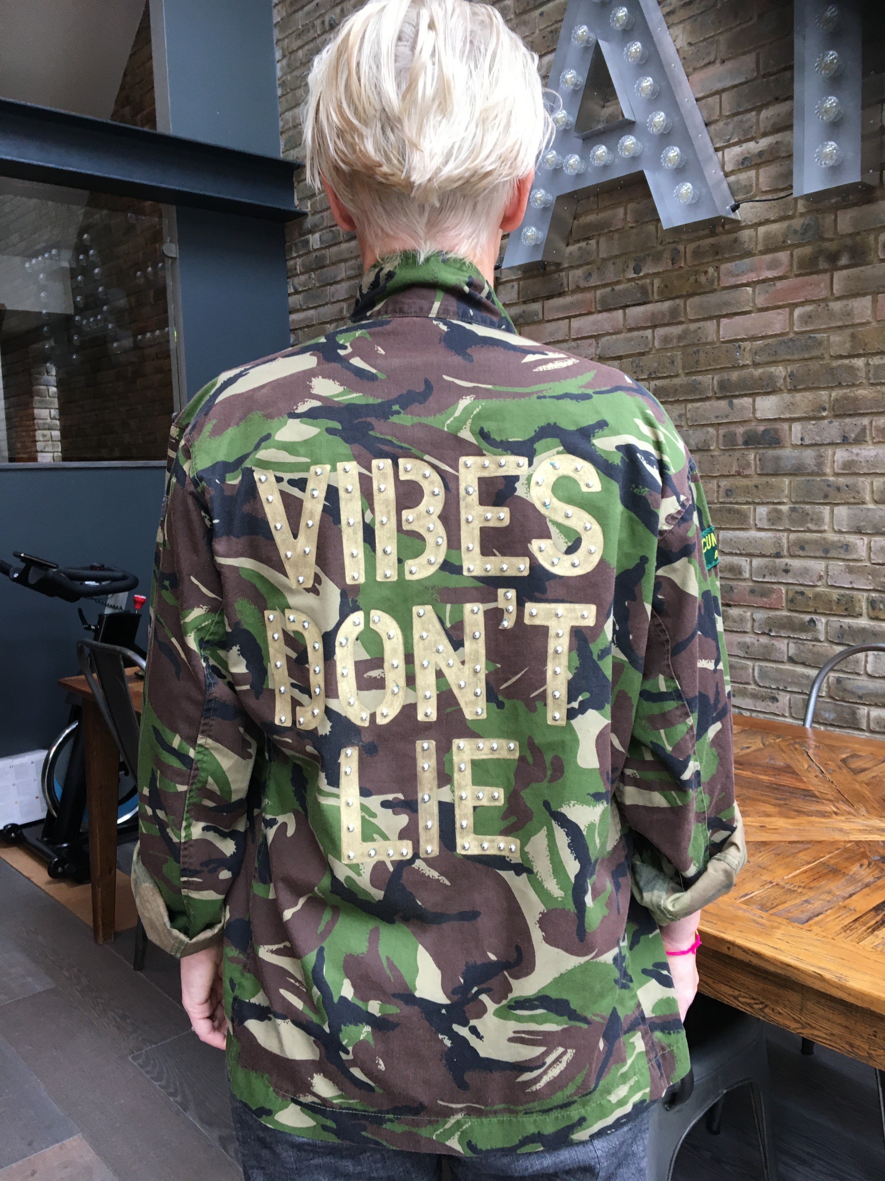 Vibes Don't Lie Bird + Wolf Green Camo Jacket Customised Camouflage