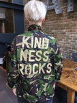 Kindness Rocks Bird + Wolf Green Camo Jacket Customised Camouflage
