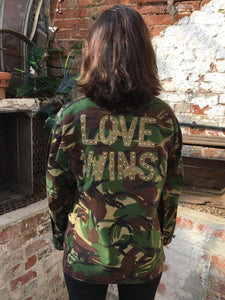 Love Wins Bird + Wolf Green Camo Jacket Customised Camouflage