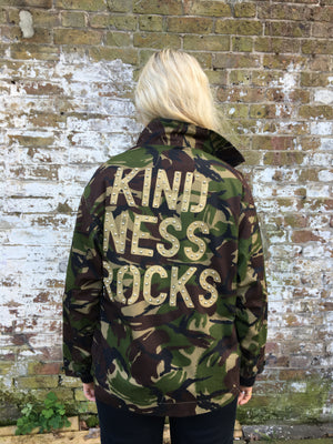 Kindness Rocks Bird + Wolf Green Camo Jacket Customised Army Camouflage
