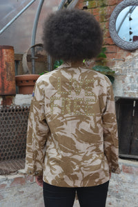 Live Free Bird + Wolf Desert Camo Jacket - Customised Camouflage Army