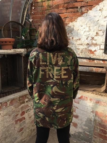 Live Free Bird + Wolf Green Camo Jacket Customised Army Camouflage