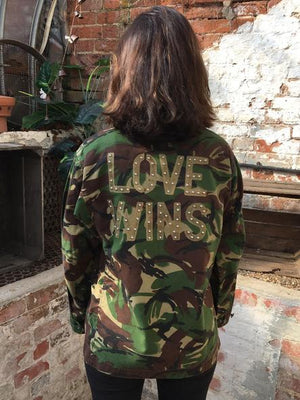 Love Wins Bird + Wolf Green Camo Jacket Customised Army Camouflage