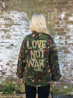 Love not war Bird + Wolf Green Camo Jacket Customised Army Camouflage