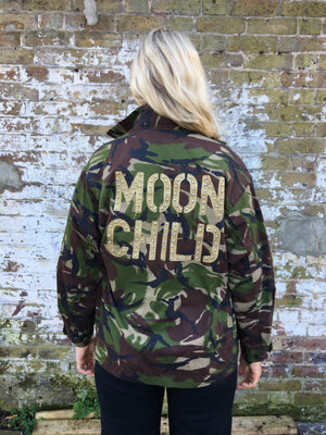 Moon child Bird + Wolf Green Camo Jacket Customised Army Camouflage