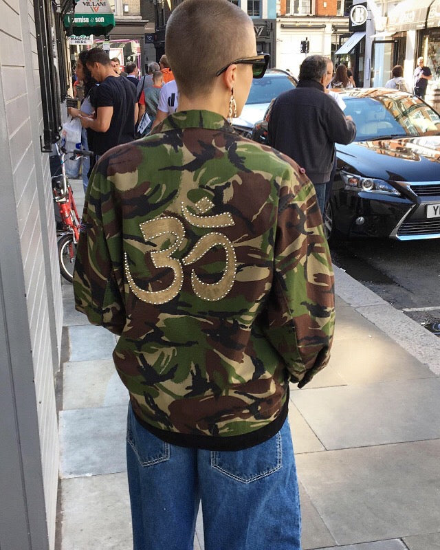Om Bird + Wolf Green Camo Jacket Customised Camouflage