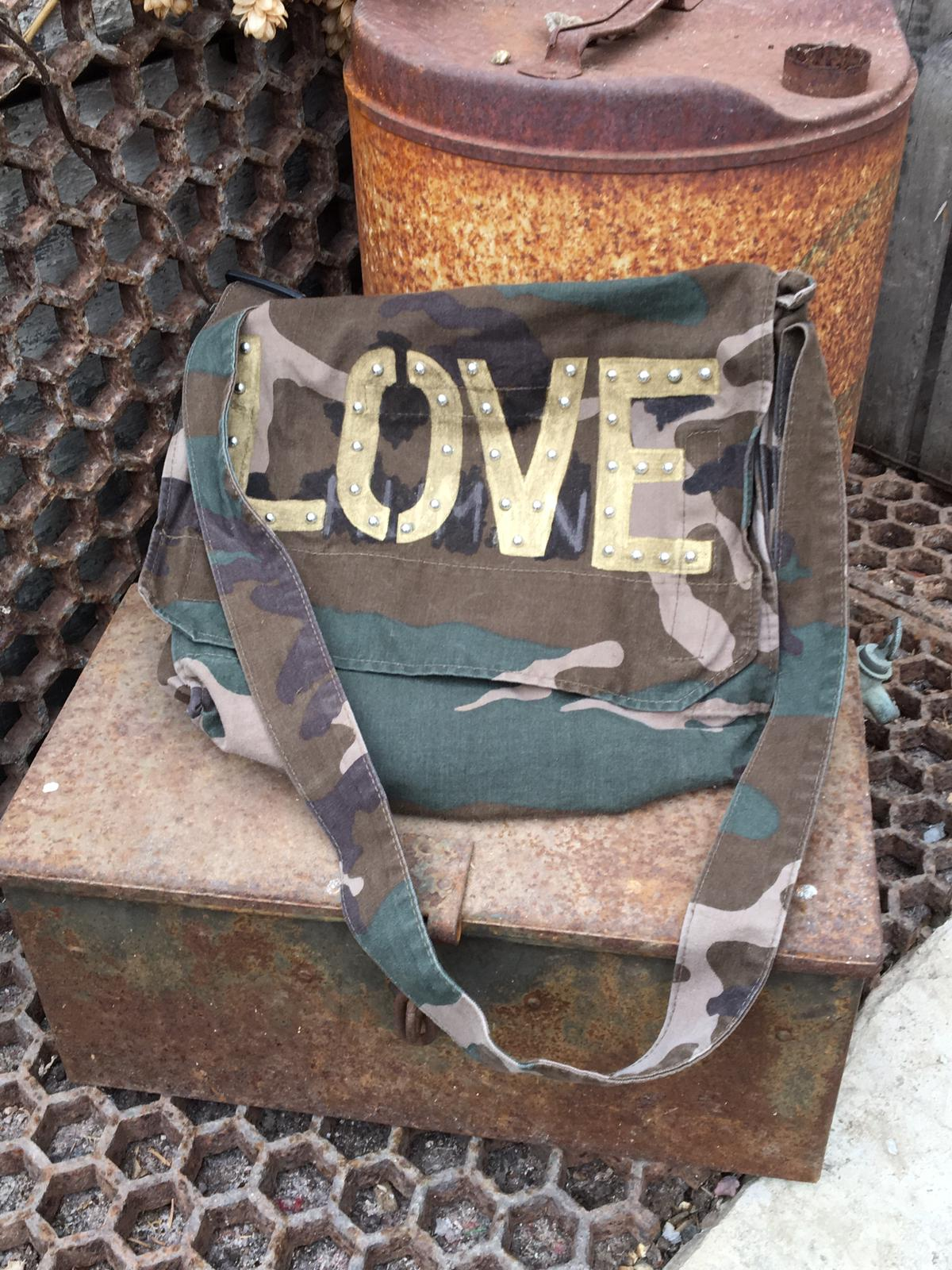 Love Camouflage Army Messenger Bag Bird + Wolf