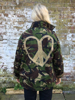 Peace Heart Bird + Wolf Green Camo Jacket Customised Army Camouflage