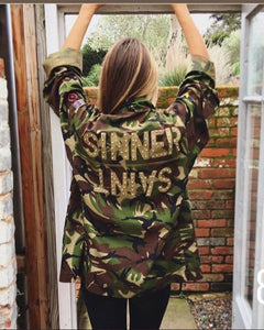Sinner Saint Bird + Wolf Green Camo Jacket Customised Camouflage