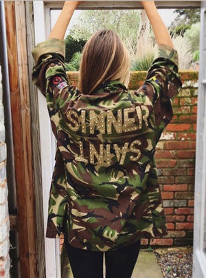 Sinner Saint Bird + Wolf Green Camo Jacket Customised Army Camouflage