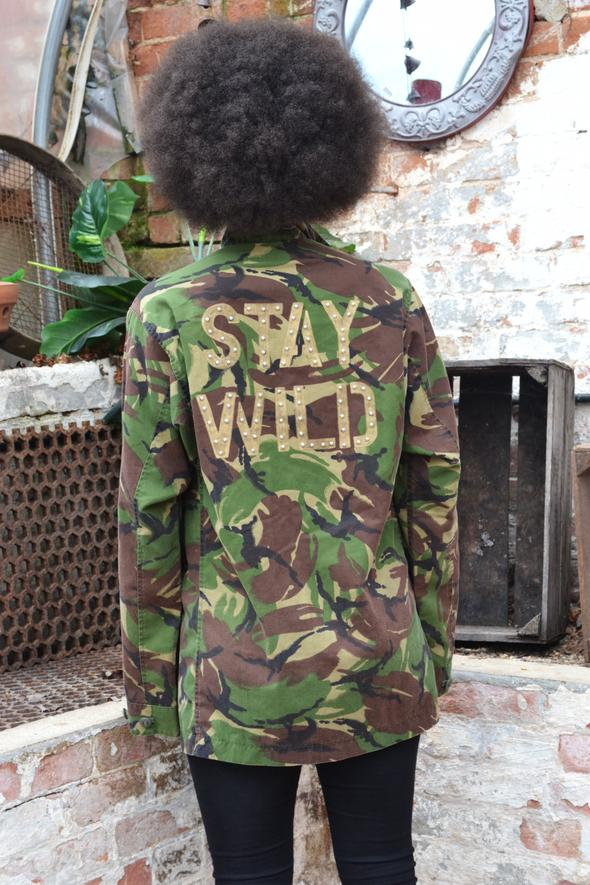 Stay Wild Bird + Wolf Green Camo Jacket Customised Army Camouflage