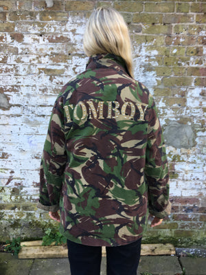 Tomboy Bird + Wolf Green Camo Jacket Customised Army Camouflage