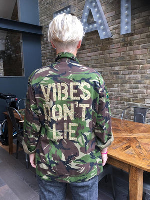Vibes don't lie Bird + Wolf Green Camo Jacket Customised Army Camouflage