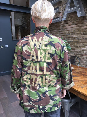 We are all stars Bird + Wolf Green Camo Jacket Customised Army Camouflage