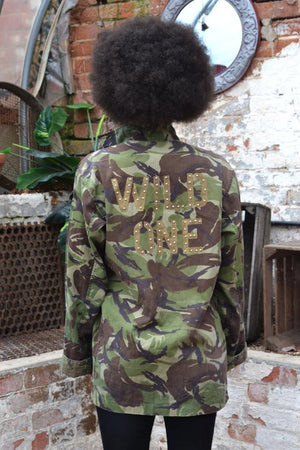Wild One Bird + Wolf Green Camo Jacket Customised Army Camouflage