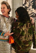 Wild At Heart Bird + Wolf Green Camo Jacket Customised Army Camouflage